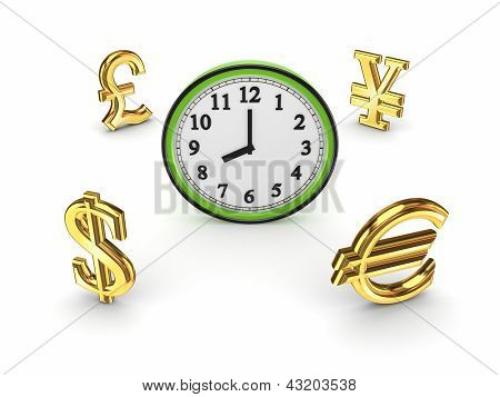 Currencies around watch.