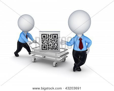 Pushcart with QR code.