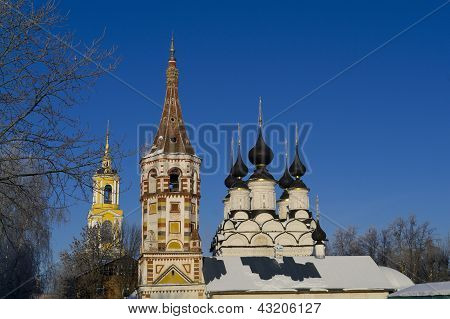 Wintry Saint Antipas And Summary Saint Lazarus Churches In Suzdal