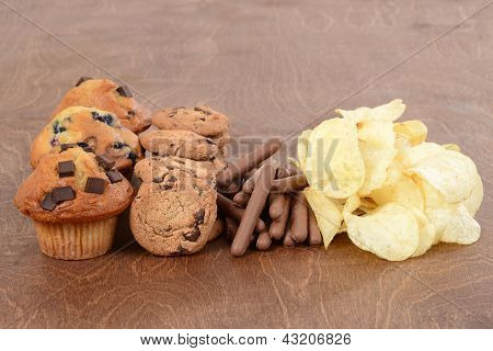 Pile of junk food