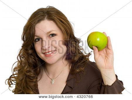 Pretty Woman Smiling Holding Healthy Fresh Green Apple