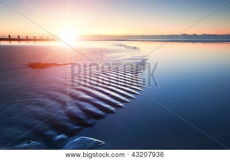 Beautiful Low Tide Beach Vibrant Sunrise