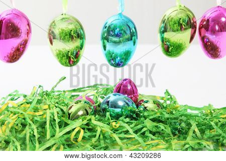Colourful Shiny Metallic Easter Eggs