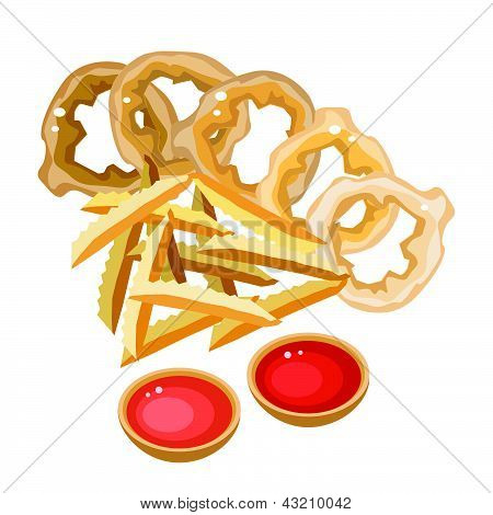 A Pile Of French Fries And Onion Ring