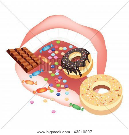 Person Eating Unhealthy Sweet Food On White Background