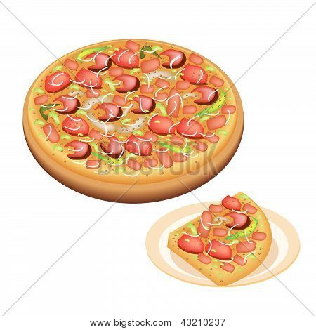 Delicious Deluxe Pizza And Sliced Pizza On Dish