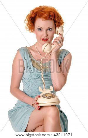 Pretty Retro Redhead On Telephone