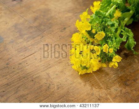 Fresh harvested canola or rapeseed flower, on well used wooden surface.