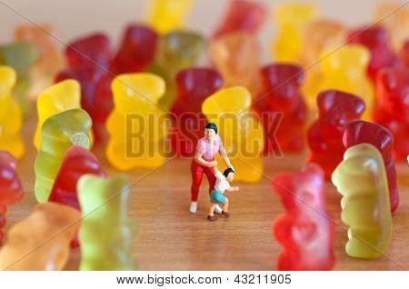 Gummy Bear Invasion. Harmful/ Junk Food Concept