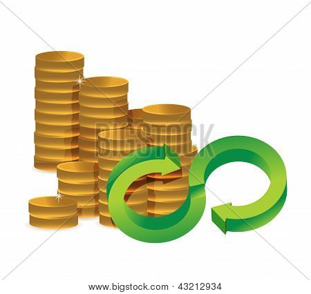 Unlimited Amount Of Money Infinity Coins Concept