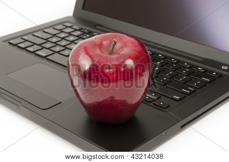 Red Apple On A Laptop