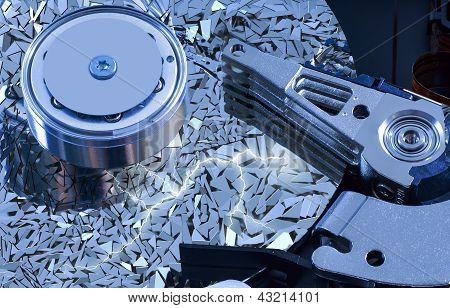 Hard Disk Detail With  Surface Splinters
