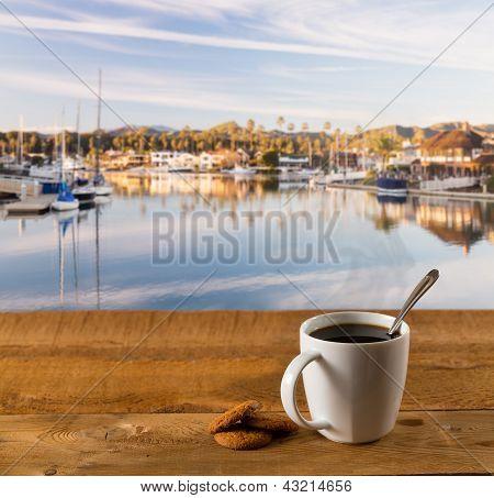 Coffee Mug On Wood Table By Harbor