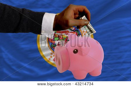 Dollar Into Piggy Rich Bank And  Flag Of American State Of Minnesota