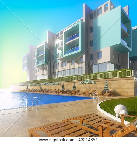 Swimming pool and modern hotel. A 3d illustration of idyllic summer background with pool and contemporary building.