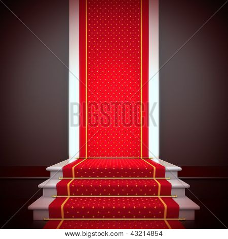 Stage of fame. A 3d illustration blank template of podium with stairs and red carpet.
