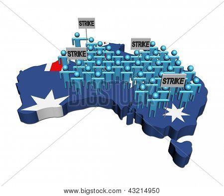 workers on strike on Australia map flag illustration