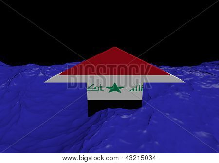 Iraqi flag arrow in abstract ocean illustration