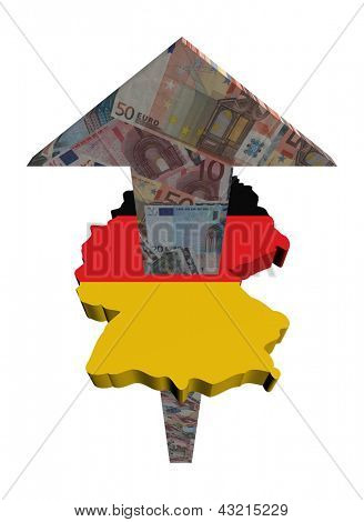 European Euros arrow and Germany map flag illustration