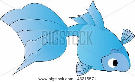 Illustration Of A Cute Blue Goldfish On White Background