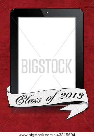 Graduation banner on tablet