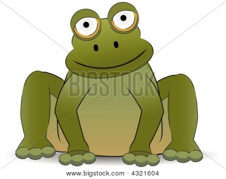 Stylized Cartoon Frog Sitting With A Smile