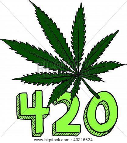 bosquejo de marihuana 420
