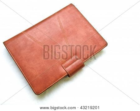Red Brown Leather Organizer Isolated By White