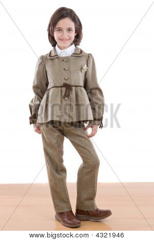 Adorable Girl With Nice Brown Suit