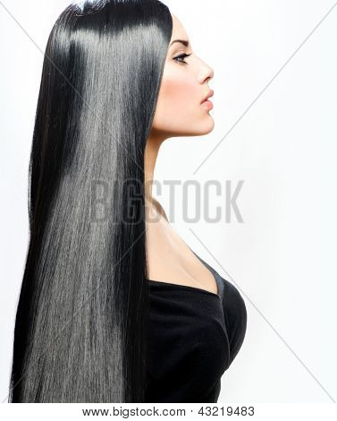 Hair. Beauty Girl with Long Straight Black Healthy Hair. Beautiful Brunette Woman Portrait. Perfect Hair