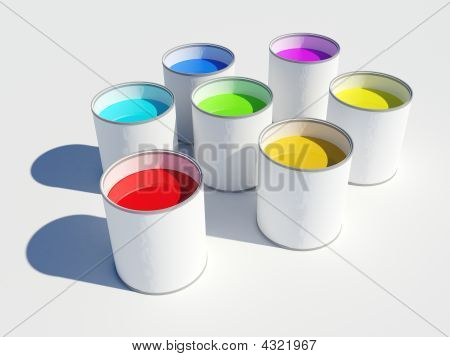 Pots Of Paint Colours Of A Rainbow