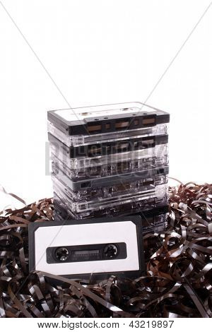 Photo of Audio cassettes and mess