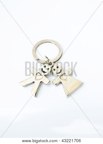 A Miniature Groom And Bride Keychain Isolated On White Background