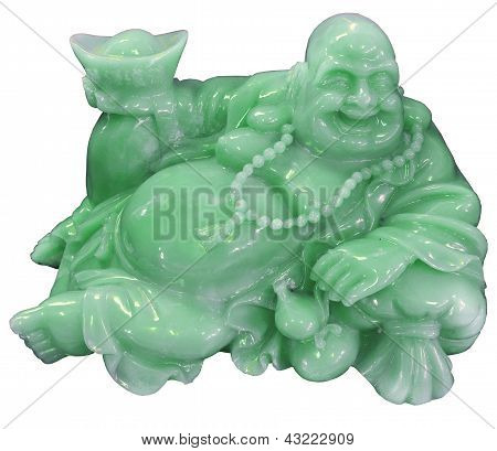 Buddha made of Jade isolated over a white background