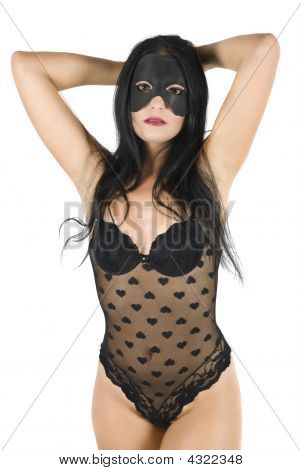 Woman Posing In Black Lingerie