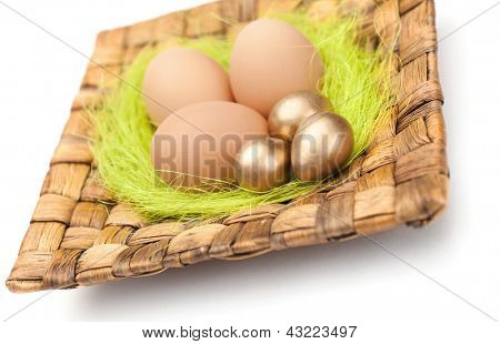 Brown and golden easter eggs are on wattled square plate with sisal green fibre, isolated on white
