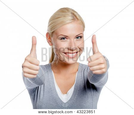 Portrait of thumbing up with two hands woman, isolated on white