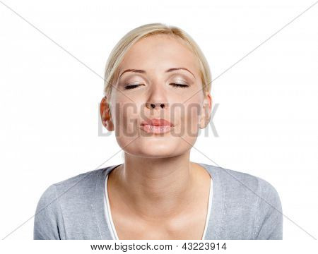 Woman imagines that she kisses somebody whom she loves, isolated on white