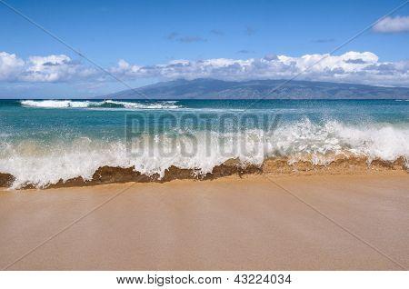 Waves Breaking On A Hawaiian Beach