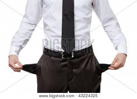 Brach Geschäftsmann mit leeren Taschen, isolated on White. Finanzkrise