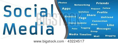 Social Media with Keywords - Blue Banner