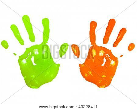 Multicolored child hand print isolated on a white paper background