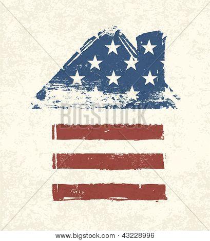 Casa en forma de bandera americana. Vector, EPS10
