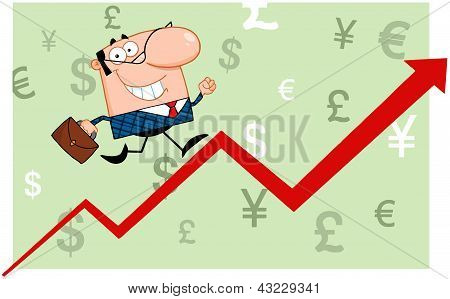 Business Man Running Upwards On A Statistics Arrow