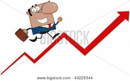 African American Business Manager Running Upwards On A Statistics Arrow