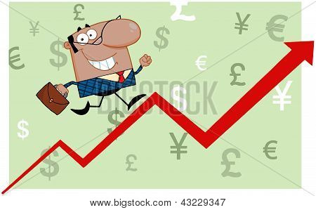 African American Business Man Running Upwards On A Statistics Arrow