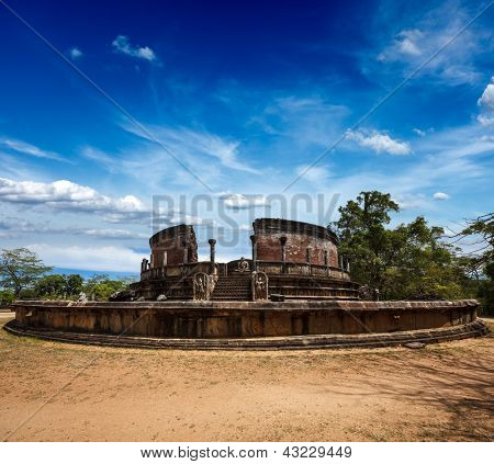 Ancient Vatadage (Buddhist stupa) in Pollonnaruwa, Sri Lanka