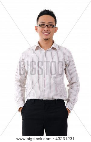 Asian Chinese Business Male In Formal Isolated On White Background