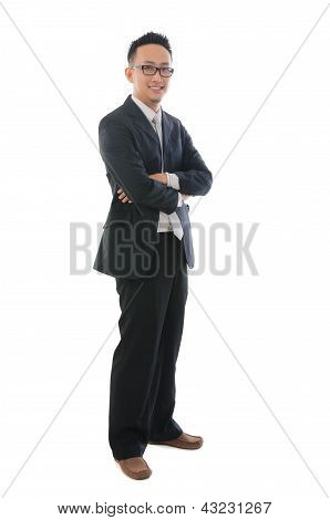Chinese Asian Business Man Isolated On White Background