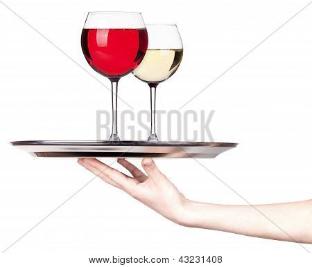 Glass Of Red And White Wine On A Silver Tray